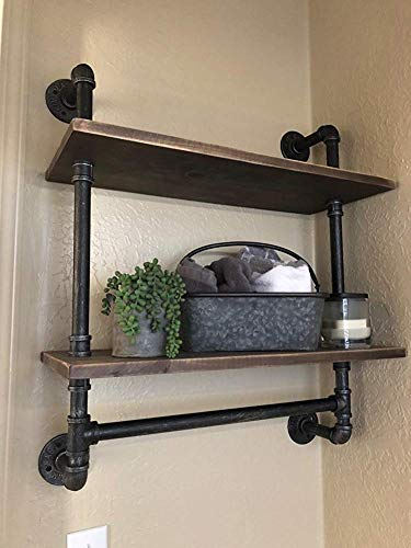 Industrial Pipe Shelf Bathroom Shelves Wall Mounted,19.6in Rustic Wood Shelf with Towel Bar,2 Tier Farmhouse Towel Rack Over Toilet,Pipe Shelving Metal Floating Shelves Iron Towel Holder