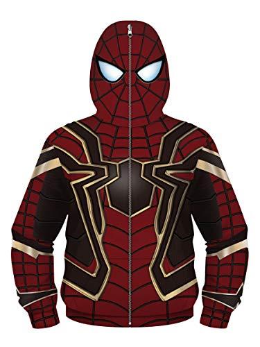 NooobTerrm Sudadera con capucha para chicos y chicas, con cremallera completa Spiderman B 7-8 años (S)