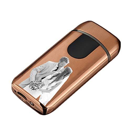 NA USB Personalized Fingerprint Lighter Kreatives Winddichtes Wiederaufladbares Feuerzeug Für Herren(Gold-einzelne Seite 77 * 35 * 14mm/3.0 * 1.3 * 0.5 in)