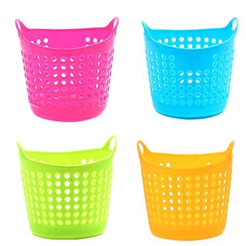 Fliyeong - Juego de 4 mini cestas de escombros de escritorio, portalápices y brochas de maquillaje, organizador multiuso, color al azar, muy práctico y popular