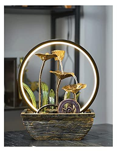 Pank Fontaine de Table en Fer forgé, Cascade à Trois pliées de Zen, Petite Fontaine intérieure, lumière LED, pour étude de Bureau Relaxation (Color : Gold, Taille : Type A)