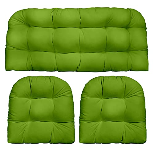 RSH Décor Indoor Outdoor 3 Piece Tufted Wicker Settee Cushions 1 Loveseat & 2 U-Shape Weather Resistant ~ Choose Color (Gecko Green, 2- 19'x19' 1- 41'x19')