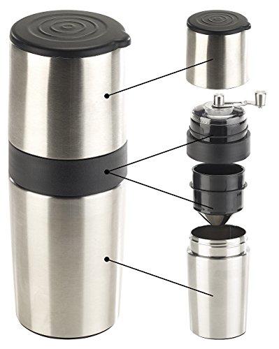 Rosenstein & Söhne Reisekaffeemaschine: 3in1-Edelstahl-Kaffeebereiter mit Kaffeemühle und Dauerfilter, 450 ml (Kaffee-Mühle)