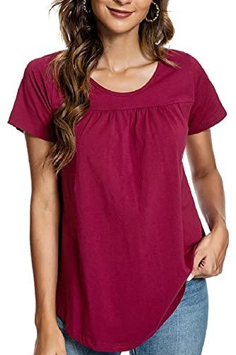 Voqeen Blusa de Mujer Camiseta de Manga Corta Algodón Blusa Elegante Camisa Suelta Mujer Casual Verano Shirts...