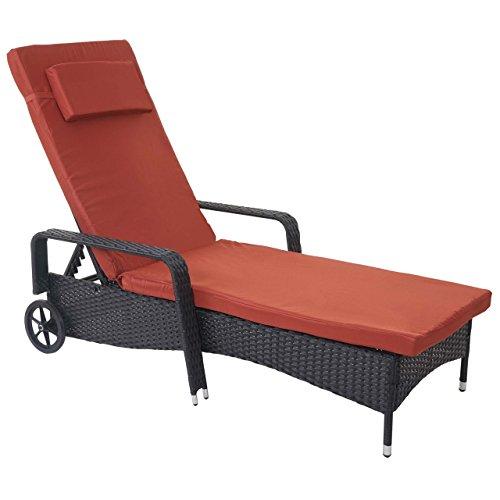 Chaise Longue Carrara, polyrotin, Bain de Soleil, couchette, alu ~ Anthracite, Coussin Terracota