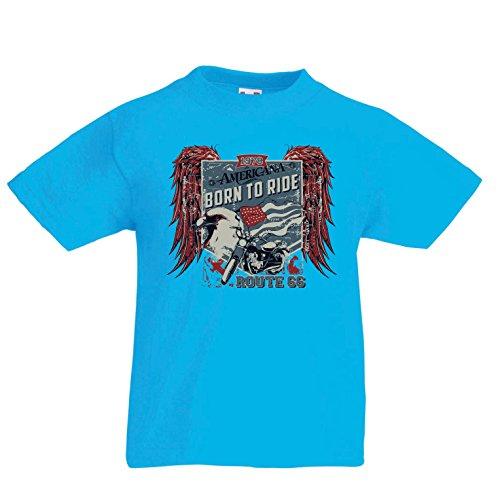lepni.me Kids T-Shirt Historische Route 66 - Amerikaanse Vlag Adelaar, Klassieke Motorfiets