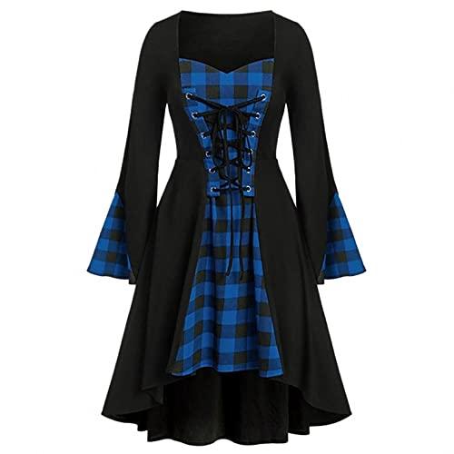 Mymyguoe Robe de princesse des années 80 - Style médiéval - Élégante robe de soirée vintage - Pour costume d'Halloween., bleu, L