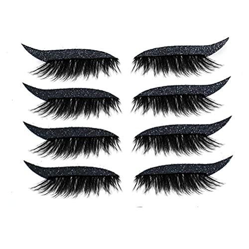 Eyeliner Sticker, 4 Paar Wiederverwendbarer Eyeliner und Wimpern Aufkleber Augen Make-up Aufkleber Sofortige Gliederung Einfache Schnelle Anwendung Wasserdichte Wiederverwendbare Eyeliner Hilfe
