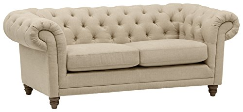 Amazon Brand – Stone & Beam Bradbury Chesterfield Tufted Loveseat Sofa Couch, 78.7'W, Hemp