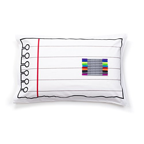 eatsleepdoodle Create Your Own Design Pure Cotton Soft Pillowcase - Notebook Print One Side, Picture Frame The Other - Doodle Pillowcase for Kids and Adults with Washable Felt Tip Fabric Markers
