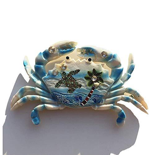 MUYU Magnet Imán para Nevera en Forma de Cangrejo de mar en 3D Azul Boracay Maldivas Bali Jamaica, Recuerdo de Viaje, Regalo para el hogar, Cocina, decoración de la Cocina