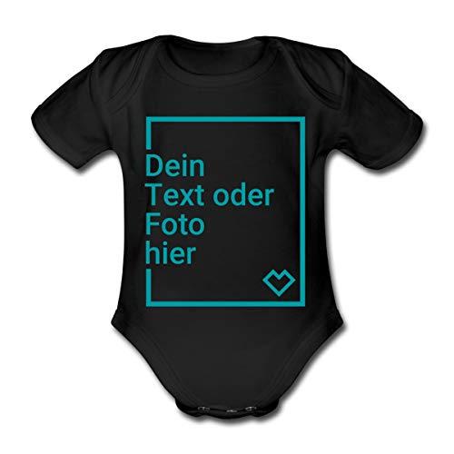 Spreadshirt Personalisierbare Babygeschenke Selbst Gestalten mit Foto und Text Wunschmotiv Baby Bio-Kurzarm-Body, 56, Schwarz