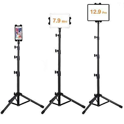 Ipad Floor Stand, Raking Height Adjustable 30 to 60 Inch Tablet Tripod Stand Mount For Ipad ,Ipad Mini and Other Tablet, Carrying Case Included and Flashlight As Gift (4.7-12.9 Inch)