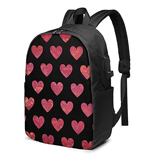 Love Pattern - Mochila de viaje para portátil con puerto de carga USB para hombres y mujeres de 17 pulgadas, ver imagen, Talla única,