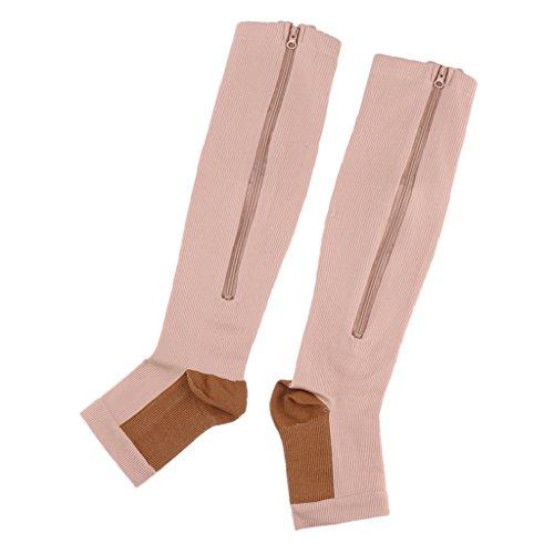 Kompressionssocken mit Reißverschluss für Damen und Herren Lange Socken - Hautfarbe, XXL