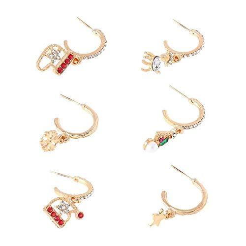 WANGYA Aretes turcos 6 unids Navidad Ear Stud Pendientes Decorativos Partido Joyería Accesorio para Orejas aretes para niñas (Metal Color : Mixed Color)
