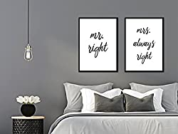 artissimo, Posterset mit Rahmen, Set Spruchbilder gerahmt, 2 Stück je 51x71cm, PE6220-ER, mr.Right/mrs Always Right, Bild, Wandbild, Wanddekoration, Poster mit Spruch, Typographie, Typografie
