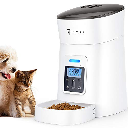 TSYMO Automatic Cat Feeder - 6 Meals Dog Food Dispenser with Anti-Clog Design, Timer Programmable, Voice Recording & Portion Control for Small &...