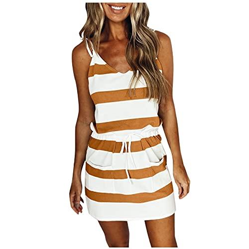 Vestido de verano para mujer, cuello en V, a rayas, vestido de camiseta, vestido de un solo color, vestido de playa, vestido corto elegante, vestido corto para el tiempo libre A-oro Small