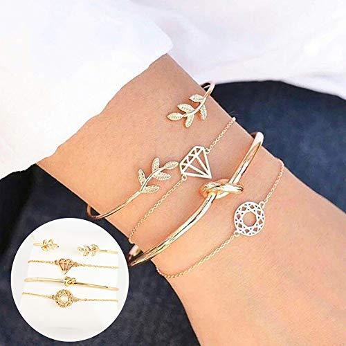 Man9Han1Qxi - Set di bracciali vintage da donne, 4 pezzi, con decorazioni di vario genere