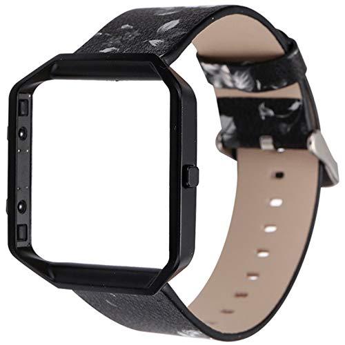 YWZQ Pelle Wristband, Cinturino Compatibile con Fitbit Blaze, Moda Stampa Bracciale astuta dell'unità di Elaborazione Band di Ricambio per Blaze,B
