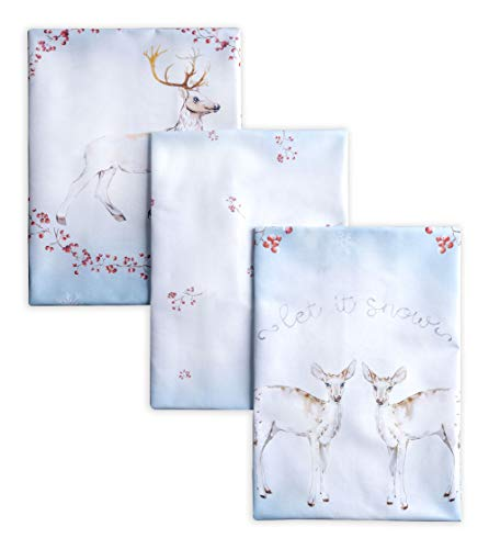 Maison d' Hermine Fairytale Forest 100% Cotton Set of 3 Multi-Purpose Kitchen Towel Soft Absorbent Dish Towels   Tea Towels   Bar Towels   Thanksgiving/Christmas (20 Inch by 27.50 Inch)