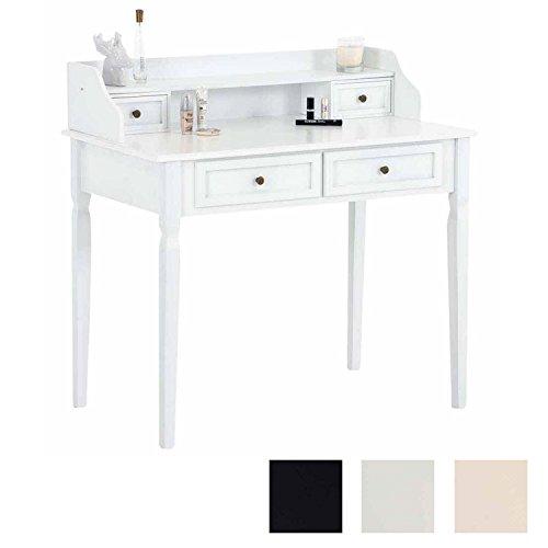 CLP Schminktisch Betty aus Pinienholz I Tisch mit Vier Schubladen I Frisierkommode in bis zu DREI Farben Weiß