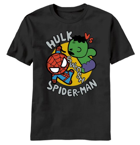 T-Shirt - Marvel Kawaii - Toy Hulk Vs. Spidey, Black Large
