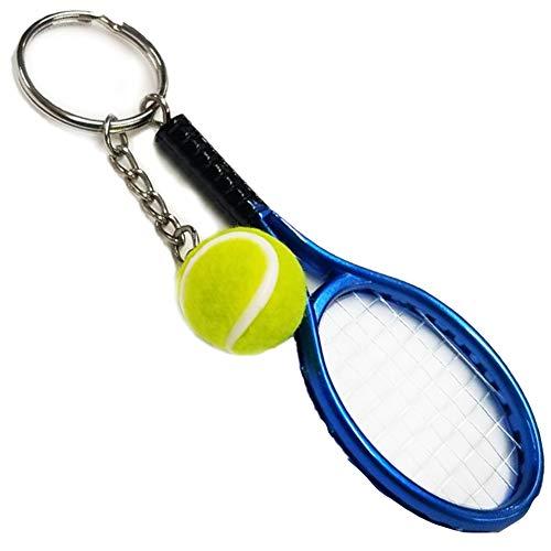 ミニチュア テニスラケット &ボールキーホルダー (メタリックカラー) ブルー
