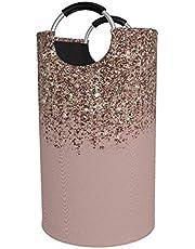 Sunmuchen Blush Roze Rose Gold Brons Cascading Glitter Wasmand, Waterdichte Grote Wasmand Opbergbak Organizer Mand voor Kleding, Speelgoed, Slaapkamer, Badkamer, met Aluminium Handvatten