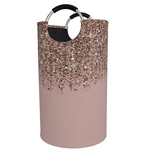 Sunmuchen Canasta de lavandería con purpurina en cascada de bronce rosa y oro rosa, impermeable, grande, organizador para ropa, juguetes, dormitorio, baño, con asas de aluminio