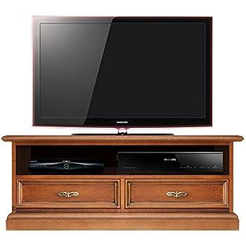 Arteferretto Mueble de TV, Mueble de salón en Madera, Mueble bajo de salón con 2 cajones y vano Abierto para la Barra de Sonido, Mueble Estilo clásico, Color Cerezo: Amazon.es: Hogar