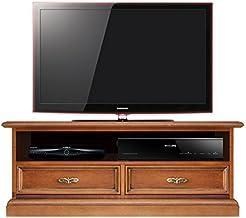 Arteferretto Mueble de tv, mueble de salón en madera, mueble bajo de salón con 2 cajones y vano abierto para la barra de sonido, mueble estilo clásico, color cerezo