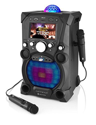 Singing Machine SDL9035BK Carnaval met ingebouwd 17,8 cm (7 inch) LCD-scherm, bluetooth, en 2 meegeleverde microfoons