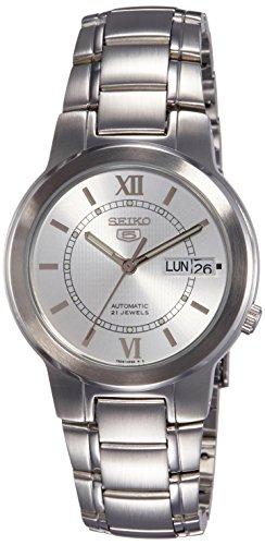 Seiko SNKA19K1 - Reloj analógico automático para Hombre con Correa de Acero Inoxidable, Color Plateado