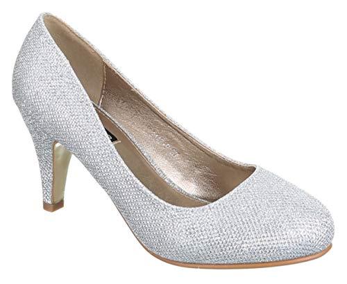 King Of Shoes Damen Klassische Pumps mit Pfennigabsatz Hochzeit (36, Silber Glitzer)
