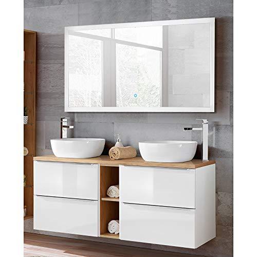 Lomadox Badmöbelset Hochglanz weiß mit Wotaneiche, Doppel-Waschtisch mit 2 Keramik-Waschbecken, LED-Spiegel mit Touch-Funktion