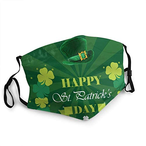 Juanjuan Happy St.Patrick'S Day Adult Mouth Covers,Adjustable Anti Dust Half Face Mouth Cover For Women Men Outdoor/Sports/Motor/Cycling (7.9 X 5.9 Inch)