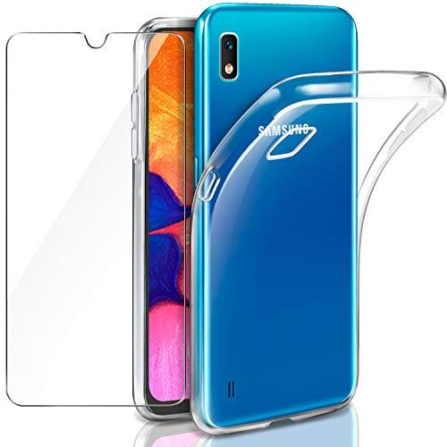 LeathLux Cover Compatibile con Samsung Galaxy A10 Trasparente con Pellicola Vetro Temperato, Morbido Silicone Protettivo Bumper TPU Gel Smartphone Custodia Case