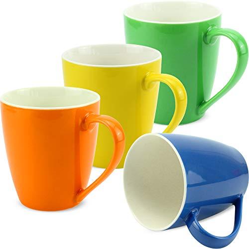 matches21 Tassen Becher Kaffeetassen einfarbig orange gelb grün dunkelblau Porzellan 4er 10 cm 350 ml - ohne Tassenhalter