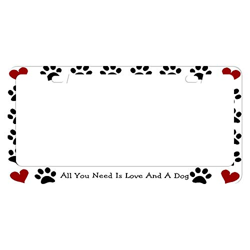 DZGlobal License Plate Cover All You Need is Love and A Dog Steel Metal License Plate Frame Style