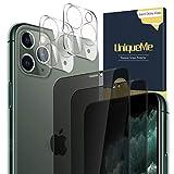 UniqueMe [2 Pezzi] Privacy Pellicola Protettiva per iPhone 11 PRO Vetro Temperato (5,8 Pollici) e [2 Pezzi] Pellicola Fotocamera per iPhone 11 PRO con Un Perfetto Servizio Post-Vendita.