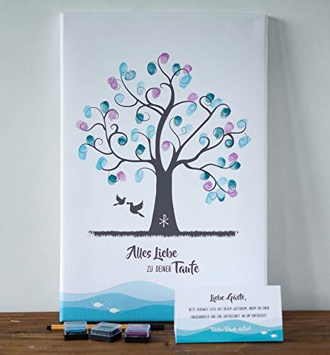 Wedding-tree - Lienzo con huellas dactilares, árbol de invitados, bautizo, comunión