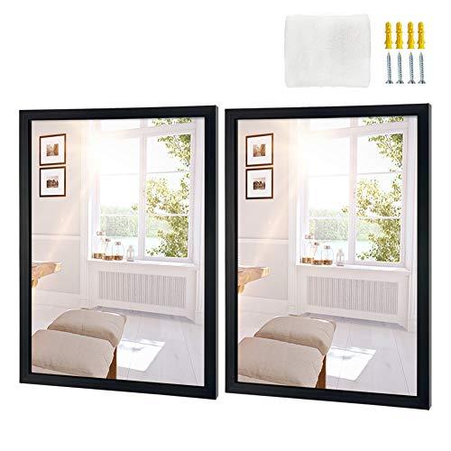 Edenseelake 2 Packs Wall Mirror 18x24 Inch Rectangle, Black Framed Mirror for Wall Hanging Mirrors for Bathroom, Bedroom, Living Room