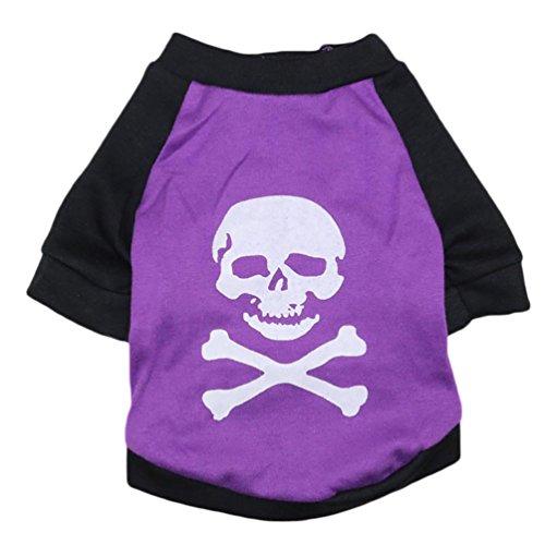 YiJee Noël Pet Crâne Imprimé T-Shirt Puppy Chien Manche Courte Vest Pourpre Noir S