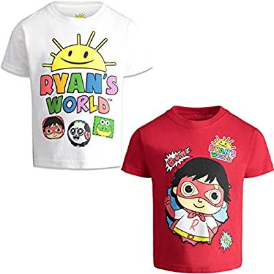 RYAN'S WORLD Boys' Short-Sleeve T-Shirts 2 Pack Graphic Tees, Little Kids 6 White/Red