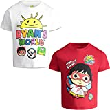 RYAN'S WORLD Boys' Short-Sleeve T-Shirts 2 Pack Graphic Tees, Toddler 4T White/Red
