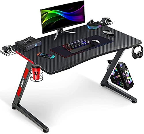 GTPLAYER Gaming Tisch Gaming Schreibtisch Gamer Tisch Ergonomischer PC Tisch mit Getränk- Kopfhörer-, und Lautsprecher Halter Z-Förmiger 110cm Schwarz