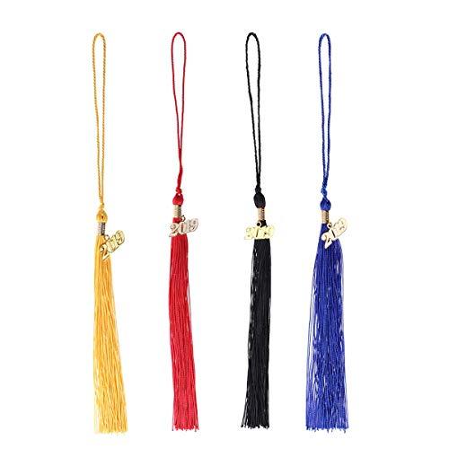 BESTOYARD Abschluss Quaste 2019 4 Stücke Abschluss Bachelor Kleidung Quaste Ehrungen Seil Abschlussfeier Kostüm Zubehör (Schwarz/Rot/Blau/Gold)