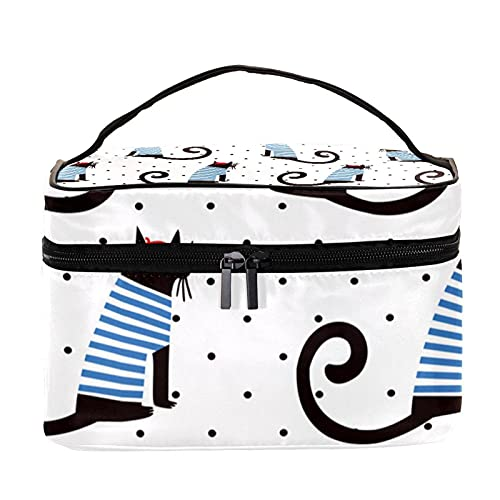 Bolsa de maquillaje para bolso de viaje bolsa de maquillaje bolsa cosmética,Gato con camisa de rayas azules